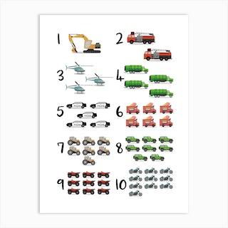 Transport Cars Numbers Art Print
