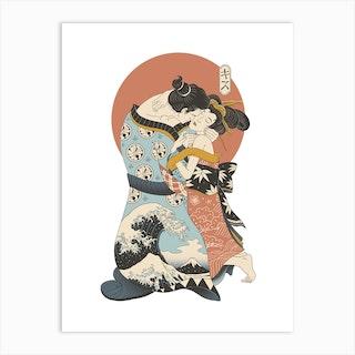 The Kiss Ukiyo E Art Print