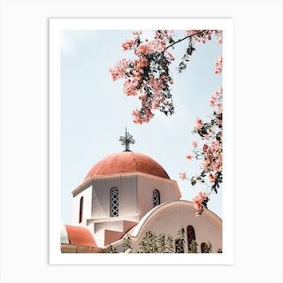 White Church In Greece Art Print
