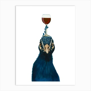 Peacock With Wineglass Art Print