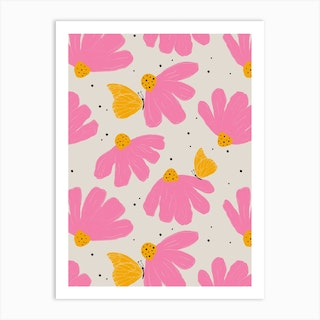 Chamomile Butterfly Art Print