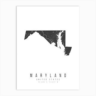 Maryland Mono Black And White Modern Minimal Street Map Art Print