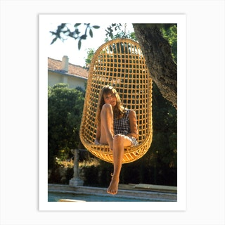Jane Birkin On Set Of Film The Sinners Aka The Swimming Pool Art Print