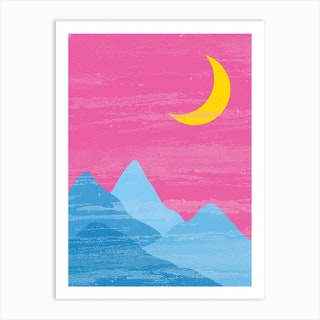 Moon And Mountains Pan Pride Art Print