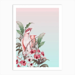 Pastel Cockatoos Paradise Art Print