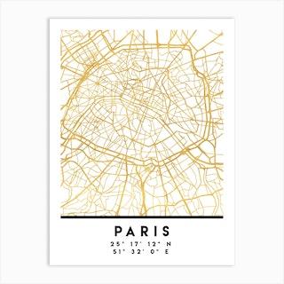 Paris France City Street Map Art Print