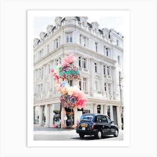 Black Cab Rainbow London Art Print