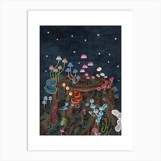 Mushroom Fireworks Art Print