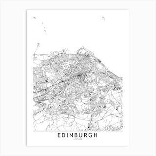 Edinburgh White Map Art Print