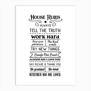 House Rules Art Print