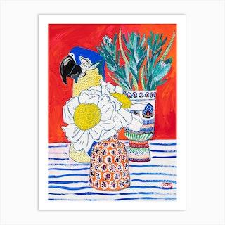 Floral Still Life On Bright Orange Art Print