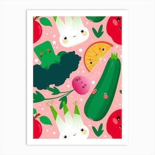 Vegetables And Fruits Kawaii Pattern Art Print