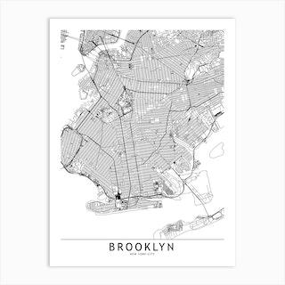 Brooklyn White Map Art Print