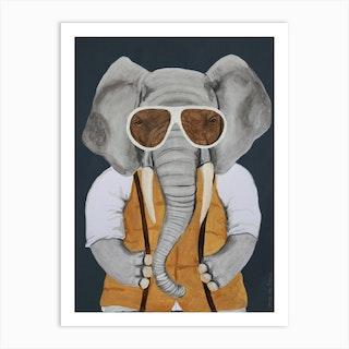 Vintage Elephant Man Art Print
