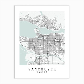 Vancouver Canada Street Map Minimal Color Art Print
