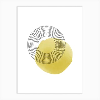 Yellow And Grey Space Art Print