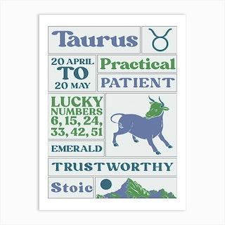 Zodiac Taurus Art Print