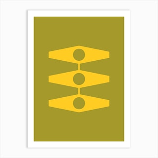 Minimal Eyes In Warm Yellow And Light Olive Art Print