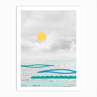 Yellow Sun In The Clouds Art Print