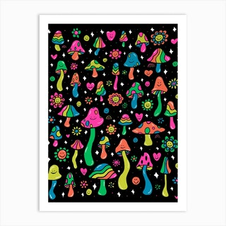 Rainbow Mushroom Art Print