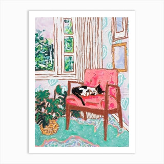 Mid Century Chair With Napping Tuxedo Cat Painting Art Print