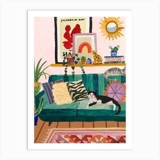 Living Room Cat Art Print