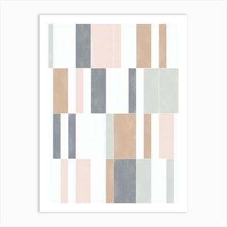 Muted Pastel Tiles 01 Art Print