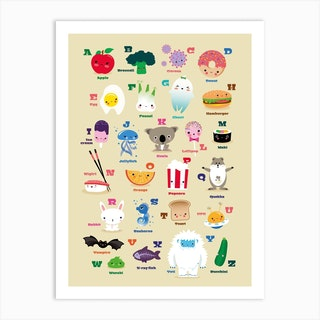 Nursery Kawaii Alphabet Art Print