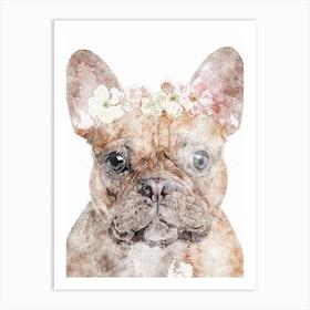 Bulldog Floral Art Print