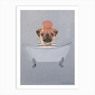 Pug With Octopus S In Bathtub Art Print