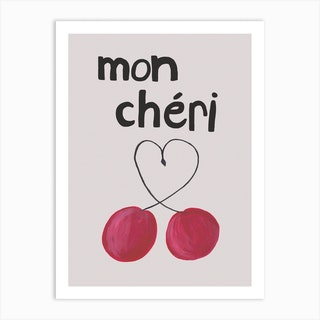 Mon Cheri Black Text Art Print