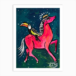 Pink Pony And Toucan In The Night Sky Painting Art Print