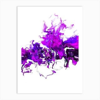 Purple Colorful White Wave Art Print