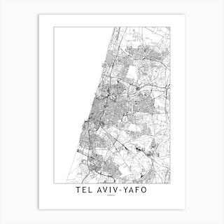Tel Aviv Yafo White Map Art Print