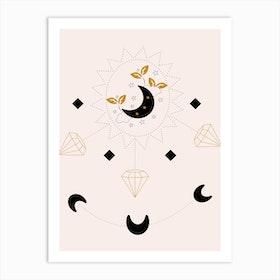 Diamonds And Moon Art Print