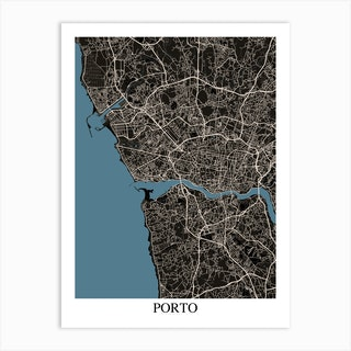 Porto Black Blue Art Print