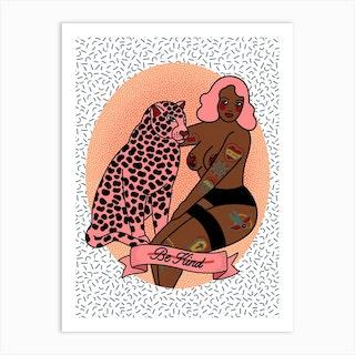 Be Kind Leopard Girl Art Print