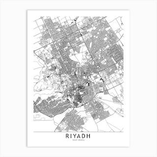 Riyadh White Map Art Print