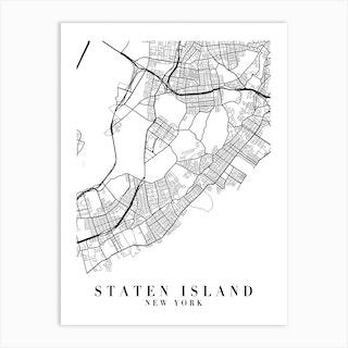Staten Island New York Street Map Minimal Art Print