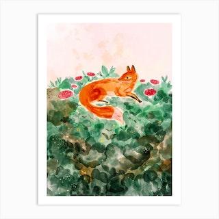 Moss Fox Art Print
