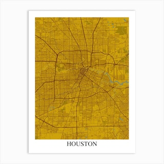 Houston Texas Yellow Blue Art Print