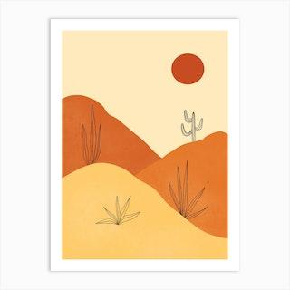 Red Sun Desert Art Print