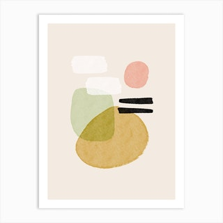 Abstract Brushstrokes, Mustard Yellow And Black Strokes Art Print