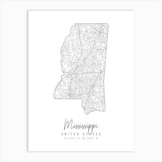 Mississippi Minimal Street Map Art Print