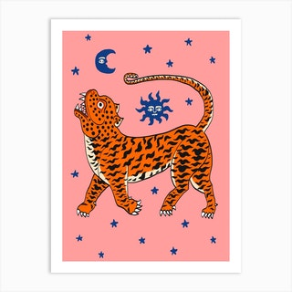 Tiger Temple Stars Pink Art Print