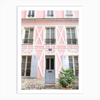 Pink Paris Home Art Print
