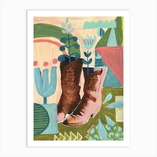 Boot Blooms Art Print