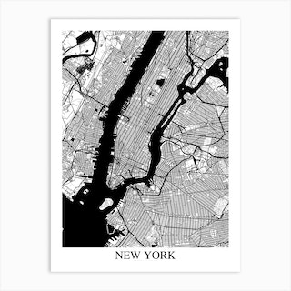 New York New York White Black Art Print