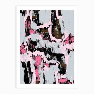 Grey And Pink Texture Art Print