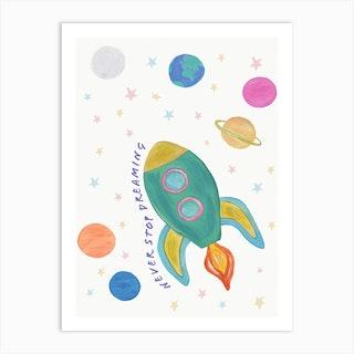 Space Rocket In Pastel Art Print
